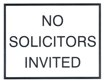 A sign notifying no solicitors invited